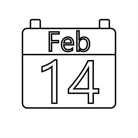 Black and white linear simple icon of a beautiful calendar with the date February 14 to the holiday of love Valentines Day. Vector illustration. Ilustração