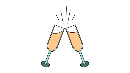 A simple flat-style icon of beautiful two glasses of champagne that clink glasses during a toast for the feast of love on Valentine's Day or March 8th. Vector illustration.