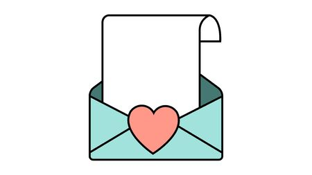 Simple icon in flat style of a beautiful letter in an envelope with a heart for the holiday of love, Valentines Day or March 8. Vector illustration.