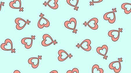 Texture seamless pattern of flat icons of hearts with the sign of a woman, love items for the holiday of love Valentines Day February 14 or March 8 on a blue background. Vector illustration.