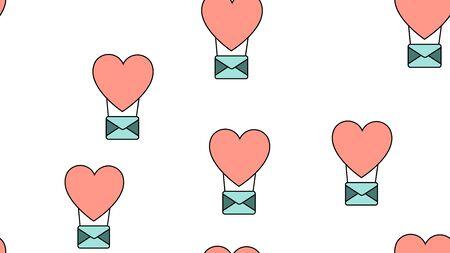 Texture motif sans fin sans fin à partir d'icônes plates de ballons et d'enveloppes d'objets d'amour pour la fête de l'amour Saint-Valentin le 14 février ou le 8 mars sur fond blanc. Illustration vectorielle. Vecteurs