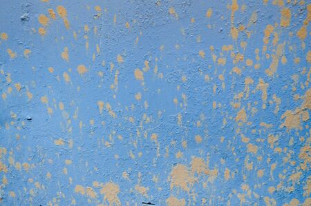 Blue iron old scratched ragged sheet metal wall with spots of dirt and drops of earth. Texture, background. Reklamní fotografie