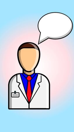A male doctor in a white coat on a gradient pink-blue background and a word cloud speaks and makes a medical diagnosis. Vector illustration.