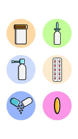 A set of six round icons for topical with medical medical pharmacological items a jar of pills, drops for the nose, spray, pill on a white background. Vector illustration.