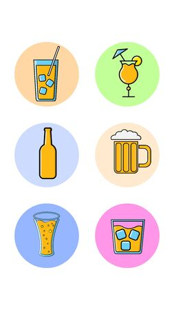 Set of six round icons for trendy with different tasty alcoholic drinks beer whiskey cocktails on a white background. Vector illustration. 向量圖像