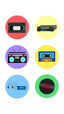 A set of six round icons for the current old antique retro electronics technology video recorder and cassette music center audio player and vinyl record on a white background. Vector illustration. Ilustração