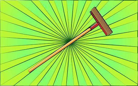 Construction repair garden tool mop brush on abstract green rays background. Vector illustration. Ilustração