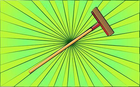 Construction repair garden tool mop brush on abstract green rays background. Vector illustration. Banco de Imagens - 141335494