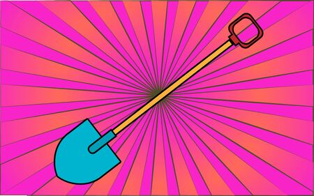 Construction repair garden tool shovel for digging the earth against a background of abstract purple rays. Vector illustration.