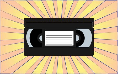 Retro old antique video cassette from the 70s, 80s, 90s, 2000s against a background of abstract yellow rays. Vector illustration.