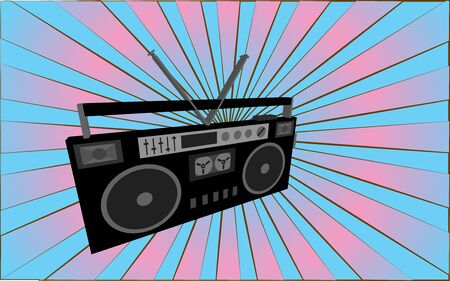 Retro old antique music audio recorder from the 70s, 80s, 90s, 2000s against a background of abstract blue and pink rays. Vector illustration. Иллюстрация