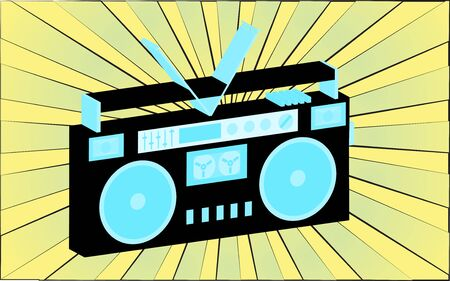 Retro old antique music audio recorder from the 70s, 80s, 90s, 2000s against a background of abstract yellow rays. Vector illustration.