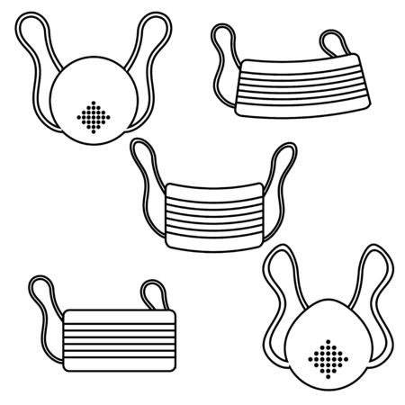 A set of black and white icons of protective gauze paper medical disposable masks for respirators of the dangerous virus strain Covid 019 coronavirus epidemic pandemic disease. Vector illustration.