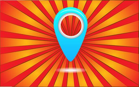 Big blue geolocation label on a background of abstract red rays. Vector illustration.