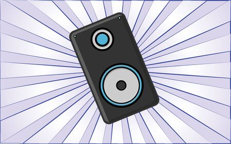 A large black music speaker on a background of abstract blue rays. Vector illustration. Иллюстрация