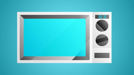 Beautiful modern white icon of kitchen appliances microwave oven for heating food on a blue background. 일러스트