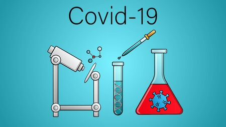 Scientific medical study of a vaccine against dangerous deadly coronaviruses in a pandemic epidemic, Covid-19 microbe viruses using a microscope and flasks in a laboratory.