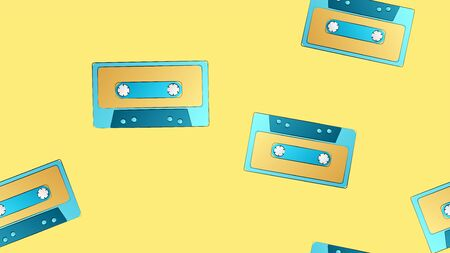 Seamless pattern of retro old hipster musical audio cassettes texture from the 70s, 80s, 90s, 2000s on a yellow background.