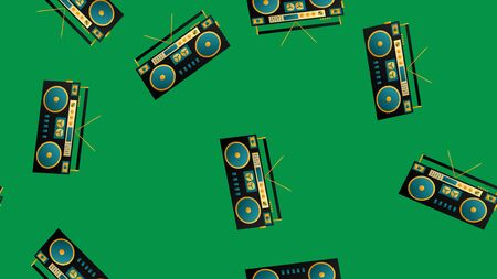 Seamless pattern of retro old hipster music audio tape recorders from the 70s, 80s, 90s, 2000s on a green background. Vettoriali