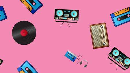 Seamless pattern of retro old hipster music audio cassette players and tape recorders vinyl records and radios from the 70s, 80s, 90s, 2000s on a pink background. Vettoriali