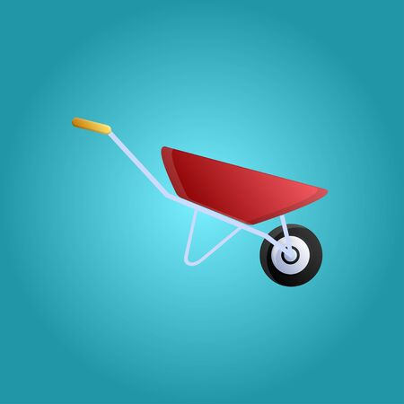 Tool for repair and construction unicycle trolley for the transport of goods on a blue background. Vector illustration. Иллюстрация
