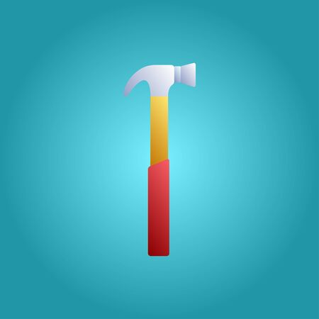 Tool for repair and construction manual hammer for hammering nails on a blue background. Vector illustration.