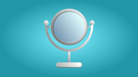 Fashionable beautiful beauty glamorous trendy makeup mirror on a blue background. Vector illustration.