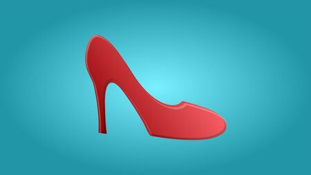 Fashionable beautiful beauty glamorous trendy red women shoes with big heels stilettos on a blue background. Vector illustration.