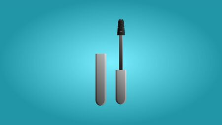 Fashionable beautiful beauty glamorous trendy black mascara for the eyes and makeup on a blue background. Vector illustration.