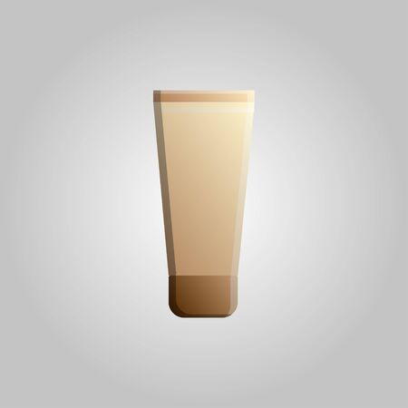 Fashionable beautiful beauty glamorous trendy beige cream in a tube of foundation for makeup on a white background. Vector illustration.