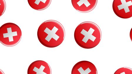 Endless seamless pattern of medical scientific medical items of the crosses in a circle on a white background. Vector illustration.