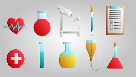 Large set of 10 medical scientific medical medical items icons with flasks of hearts, microscopes and droppers with documents on a white background. Vector illustration.