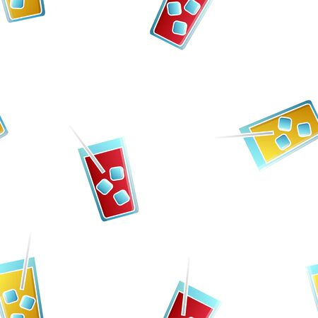 Endless seamless pattern of beautiful glass glasses with tasty alcoholic cocktails with ice and straws for a party on a white background. Vector illustration.  イラスト・ベクター素材