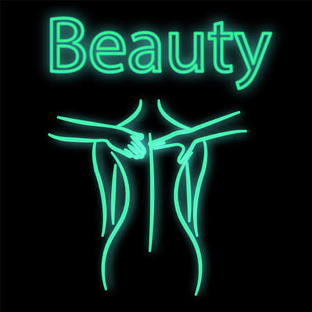 Bright luminous green neon sign for a massage parlor. Beautiful brilliant beauty spa with a woman doing massage on a black background. Vector illustration.