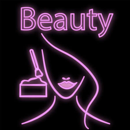 Bright luminous violet neon sign for hairdresser cosmetology beauty salon beautiful shiny beauty spa with the face of a woman doing makeup on a black background. Vector illustration.