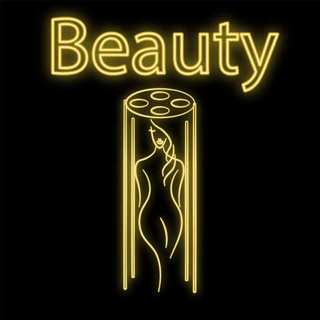 Bright luminous yellow neon sign for a tanning bed of a beauty salon and a tan beautiful brilliant beauty spa with a woman sunbathing on a black background. Vector illustration.
