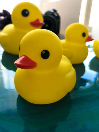 yellow rubber ducks floating on the water of epoxy blue resin. glare on the interior picture. family of ducks made for swimming with children. Cute bathroom decorations. Imagens