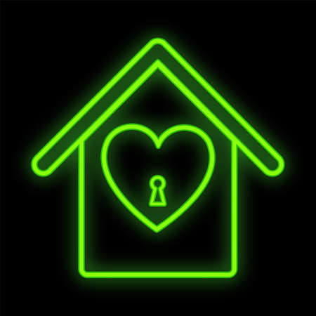 Bright luminous green festive digital neon sign for a store or postcard beautiful shiny with a love house with a heart on a black background. Vector illustration.
