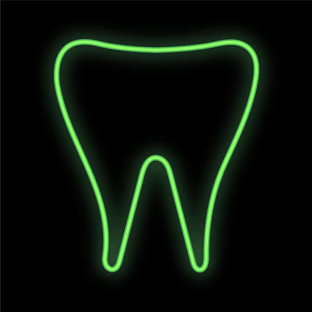Bright luminous green medical digital neon sign for a pharmacy or hospital store beautiful shiny with a dental tooth on a black background. Vector illustration.