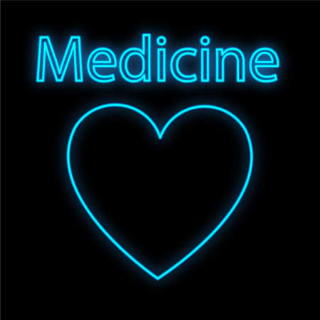 Bright luminous blue medical digital neon sign for a pharmacy or hospital store beautiful shiny with a heart and the inscription medicine on a black background. Vector illustration.