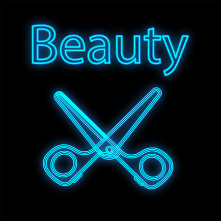 Neon and blue scissors for haircuts and manicure, on a black matte background. little cute scissors for a manicurist, stylists, hairdressers. neon sign for beauty bars. vector illustration. Иллюстрация