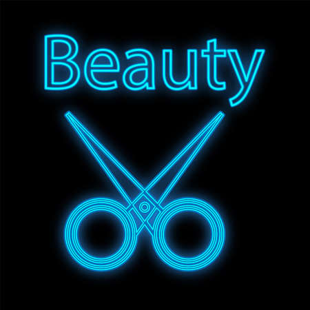 scissors for manicure and pedicure, hairdressing neon and blue on a black background. sharp scissors, a tool for beauty masters to create beauty, design hairstyles, nails. vector illustration.