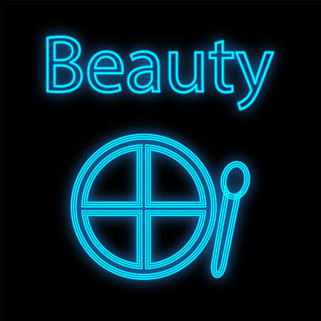 blue palette for eye makeup and eyelids. Neon shadows for face decoration. color cute makeup palette with soft brush for drawing on the eyes. signboard and logo for makeup artists vector illustration.