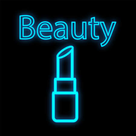 bright lipstick to create a beautiful even tone on the lips. The formula with natural collagen moisturizes and cares for the lips. Neon blue outline packaging on a black background. vector illustration.