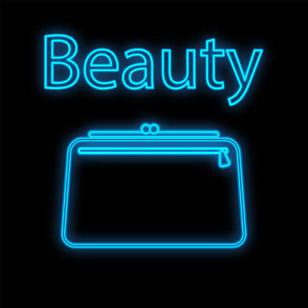 blue neon cosmetic bag on a black matte background. handbag for makeup artist, for cosmetics, brushes, pallets. decoration itza. hiking kit with makeup. vector illustration. Иллюстрация