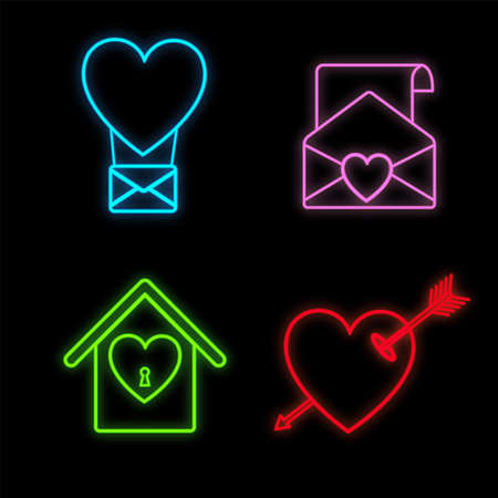 Set of bright luminous multi-colored festive neon signs for the store and postcards beautiful shiny with love hearts envelopes arrows balloons on a black background. Vector illustration. Ilustração