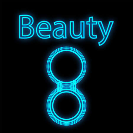 blue neon powder on a black background. powder box round with a mirror for applying a matte finish on the face. Neon sign for a beauty bar or studio. vector illustration.