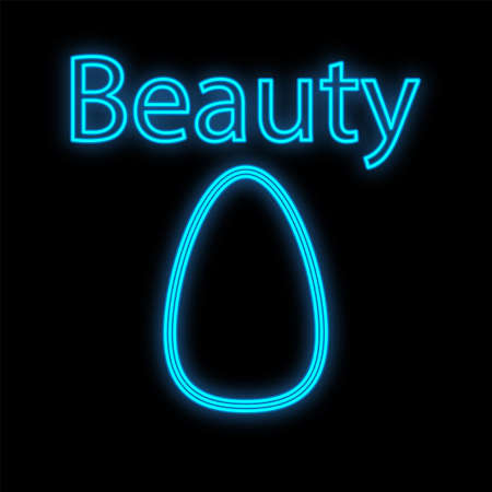 a beauty blender for applying tone, blush and powder to the skin of the face. a sponge for makeup, coating, a tool. oval-shaped paralon sponge, neon on a black background. vector illustration. Vectores