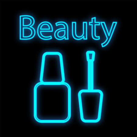 nail polish with a brush for decorating nails, manicures and pedicures. bright colored nail polish, blue neon on a black background. manicure tools for nail design. beauty bar. vector illustration.
