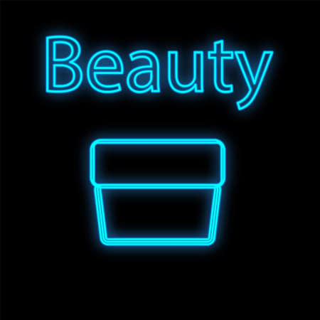 a cup for storing makeup brushes. blue neon, on a black matte background. packaging for the convenience of makeup artists. holder for makeup brushes. vector illustration.